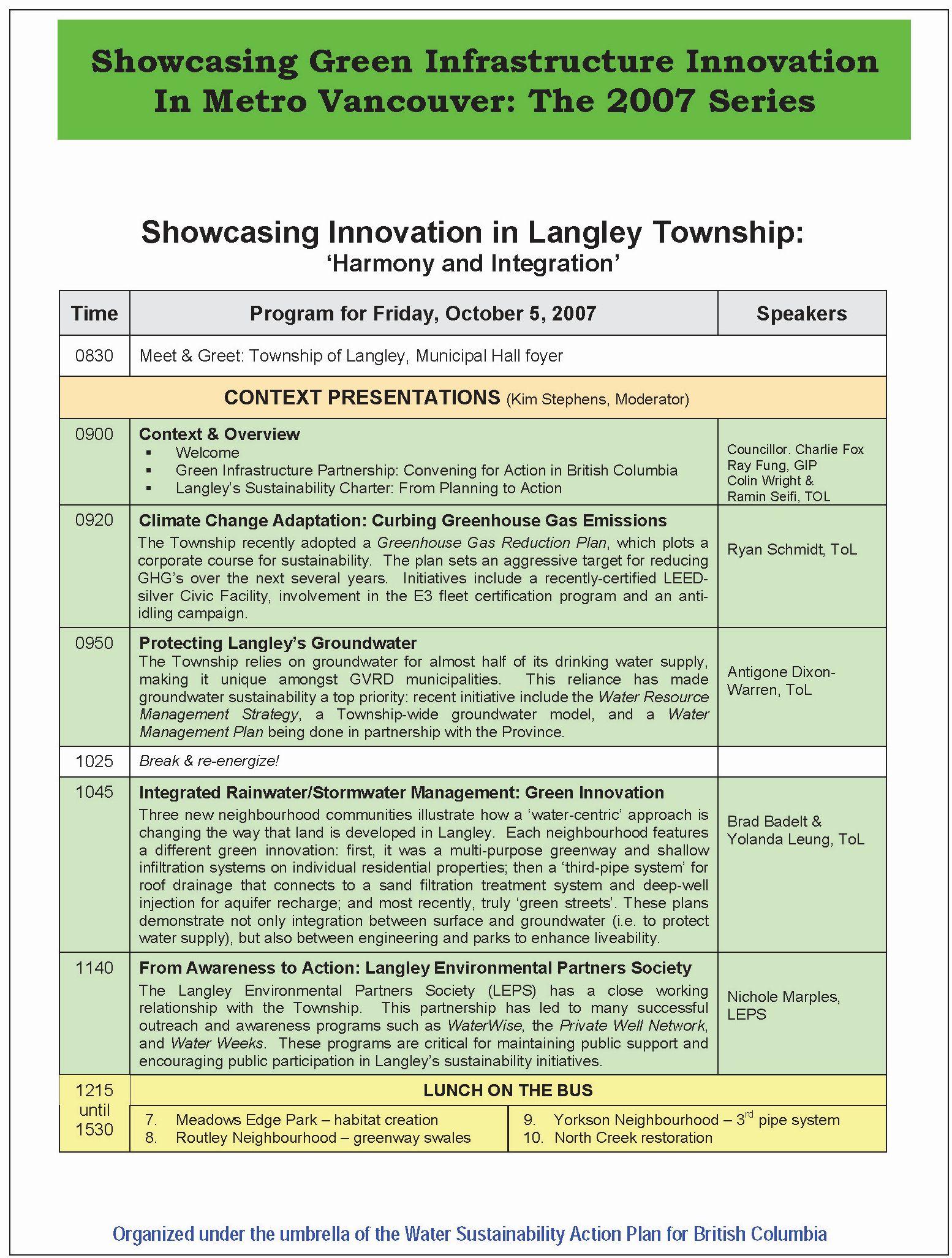 2007_Showcasing Innovation in Langley_program