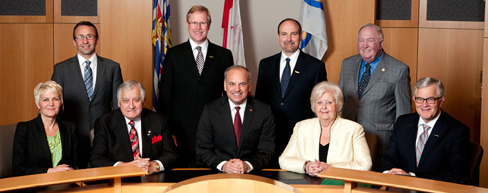 Front Row: Councillor Bonita Zarrillo, Councillor Lou Sekora, Mayor Richard Stewart, Councillor Mae Reid, Councillor Terry O'Neill  Back Row: Councillor Chris Wilson, Councillor Brent Asmundson, Councillor Craig Hodge, Councillor Neal Nicholson
