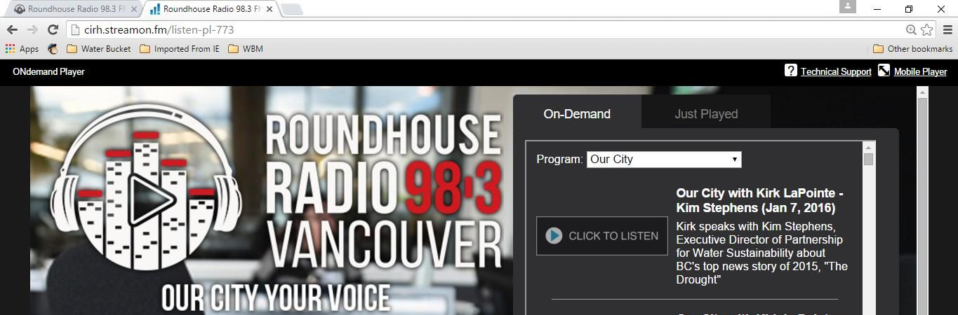 """To listen to Kirk LaPointe interview Kim Stephens: first, go to http://cirh.streamon.fm/ (or click on the image above); then go to """"Our City"""" on the PROGRAM dropdown; and scroll down to January 7, 2016"""