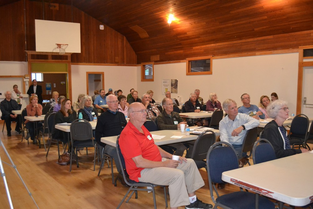 Audience at 2016 Annual General Meeting of Mid Vancouver Island Habitat Enhancement Society listens to Kim Stephens speak