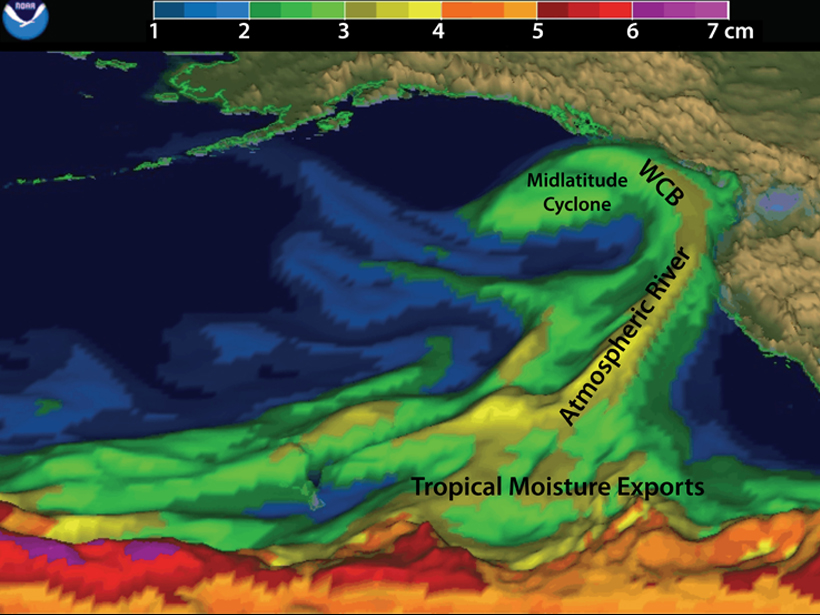 This depiction of an atmospheric river, interacting with West Coast mountains and a mid-latitude cyclone over the northeast Pacific on Feb. 5, 2015, provides an example of approximate locations of associated tropical moisture exports and a warm conveyor belt (WCB). NOAA/ESRL PHYSICAL SCIENCES DIVISION / PNG