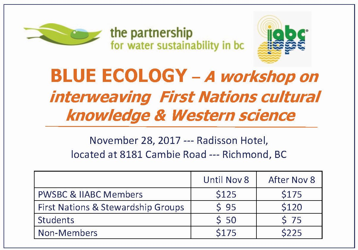 TO REGISTER, VISIT: https://www.civicinfo.bc.ca/event/2017/Blue-Ecology