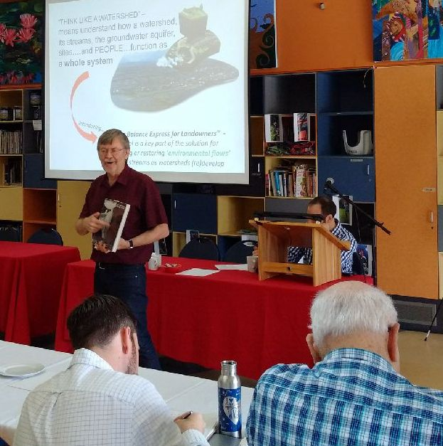 Kim Stephens speaking at the Community Meeting hosted by the Coquitlam River Watershed Roundtable