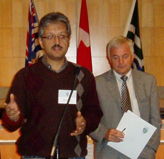 Ramin Seifi (L) and Colin Wright (R) in 2007 as they co-presented at the Showcasing Green Infrastructure event hosted by the Township of Langley