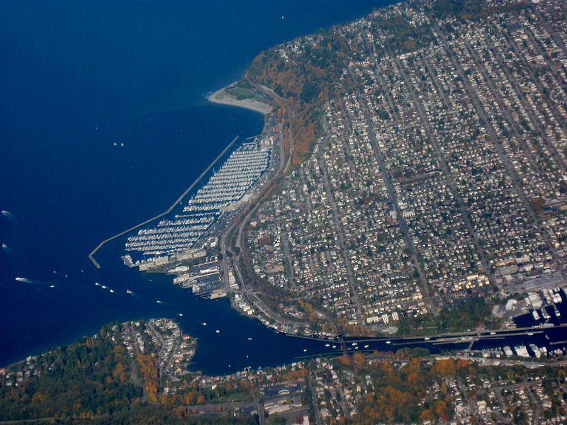 Aerial view of Ballard, Seattle. Waterway at bottom is Lake Washington Ship Canal.
