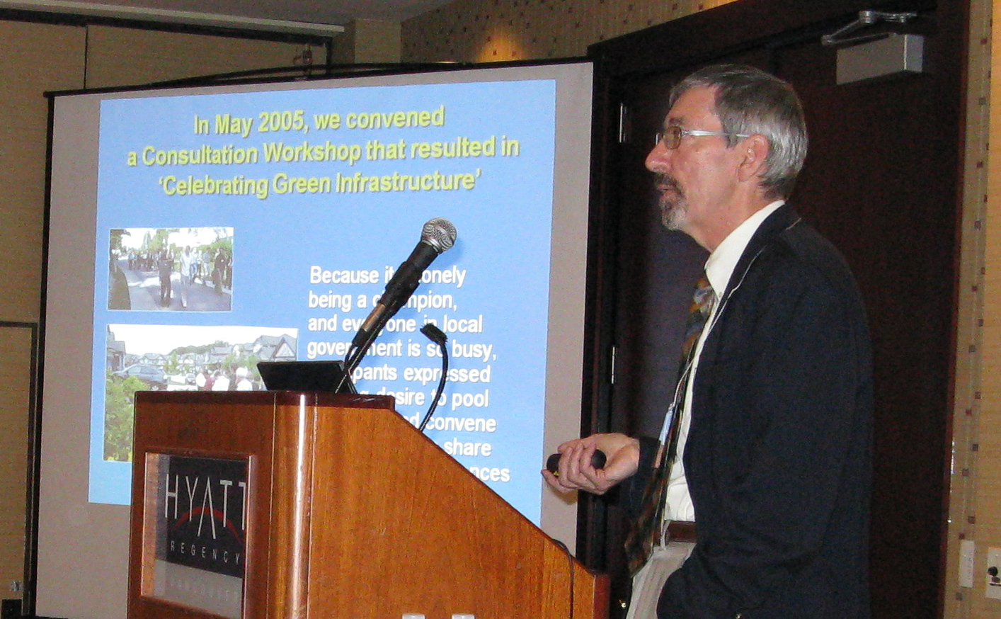 "At the rollout of ""Beyond the Guidebook"" in November 2007, Paul Ham explained the strategic importance of the Showcasing Green Infrastructure Innovation Series as a catalyst for implementing changes in practice that reflect a 'design with nature' philosophy."