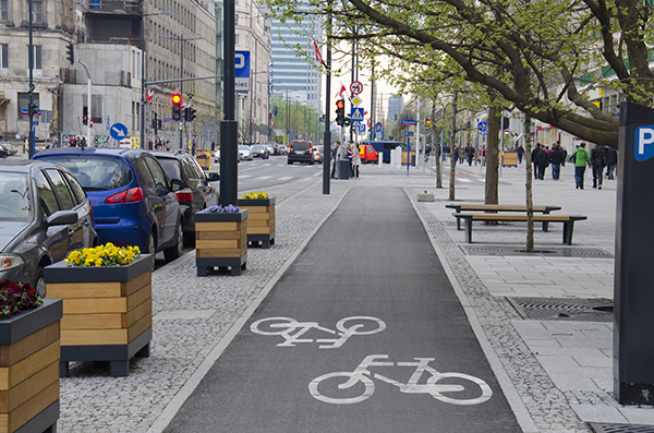 Smart City - street with bicycle lane