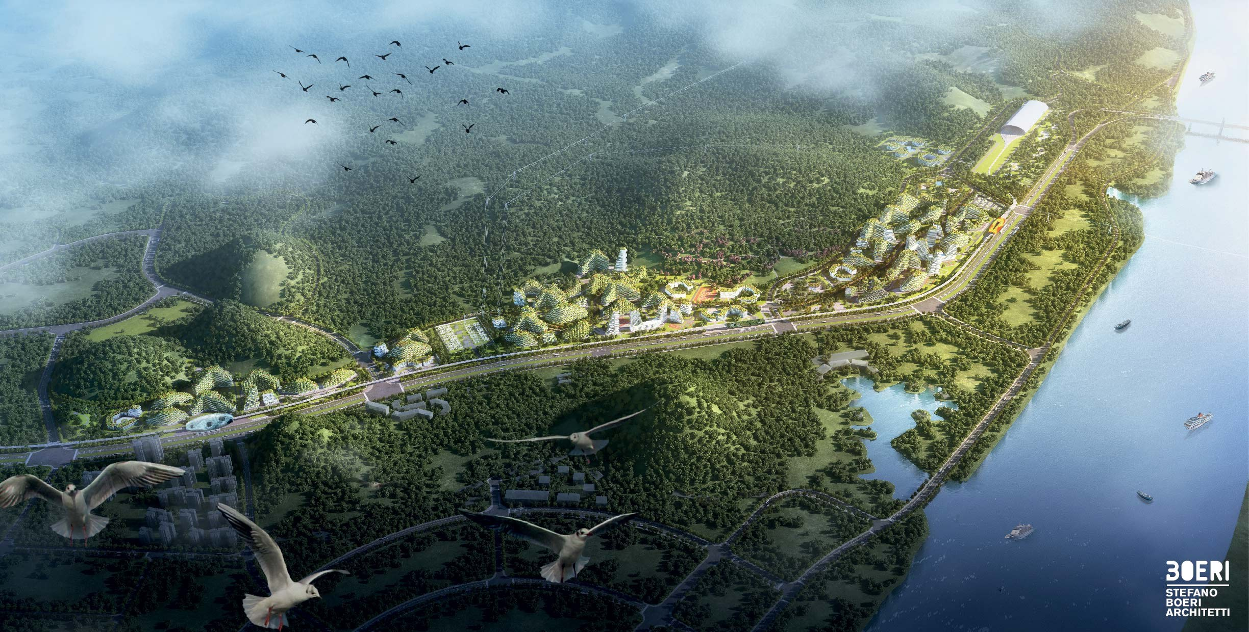 birds-eyes view of Liuzhou Forest City, China. CREDIT: Stefano Boeri Architect