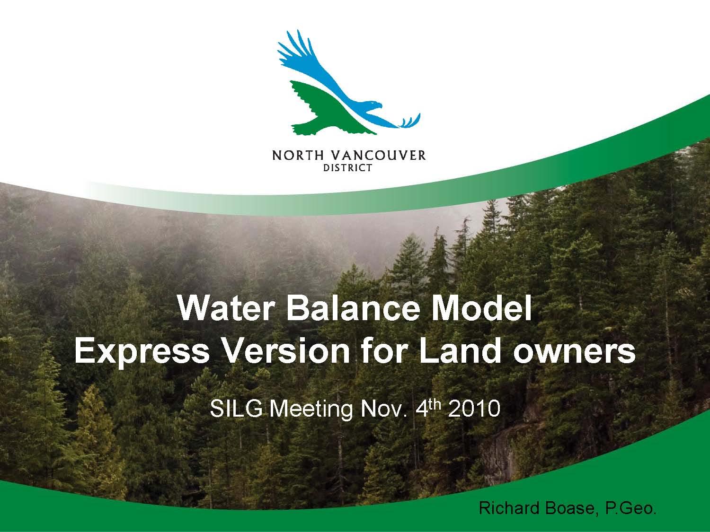 SILG_WBM Express for Landowners_Richard Boase_Nov 2010_title slide