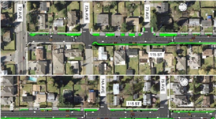 Streetscape Revitalization along 115th Street (btw 72 and 75A Ave) – This project comprised roadside infiltration swales throughout the 0.7 km travel corridor and rain gardens at intersections