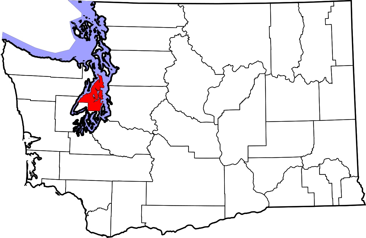 Map of Washington State highlighting Kitsap County in Puget Sound