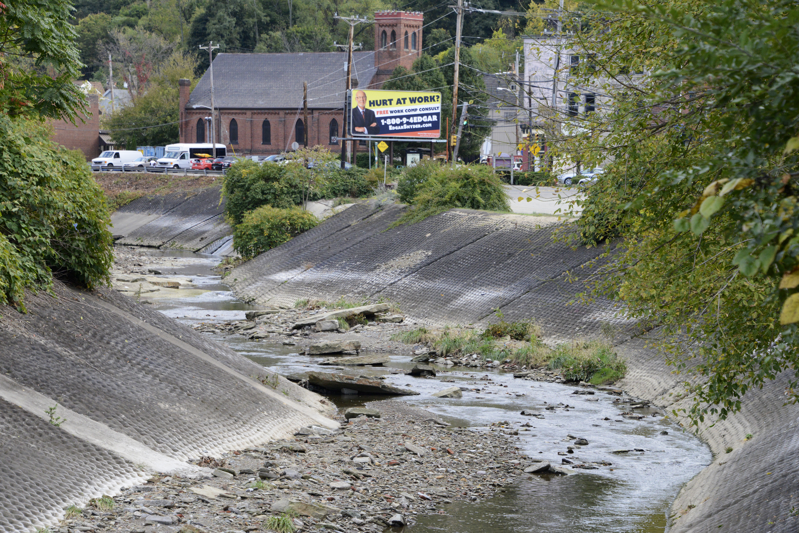 """Saw Mill Run with large concrete """"mattresses,"""" meant to slow the flow of flood waters. (Photo Credit: Rebecca Droke/Post-Gazette)"""