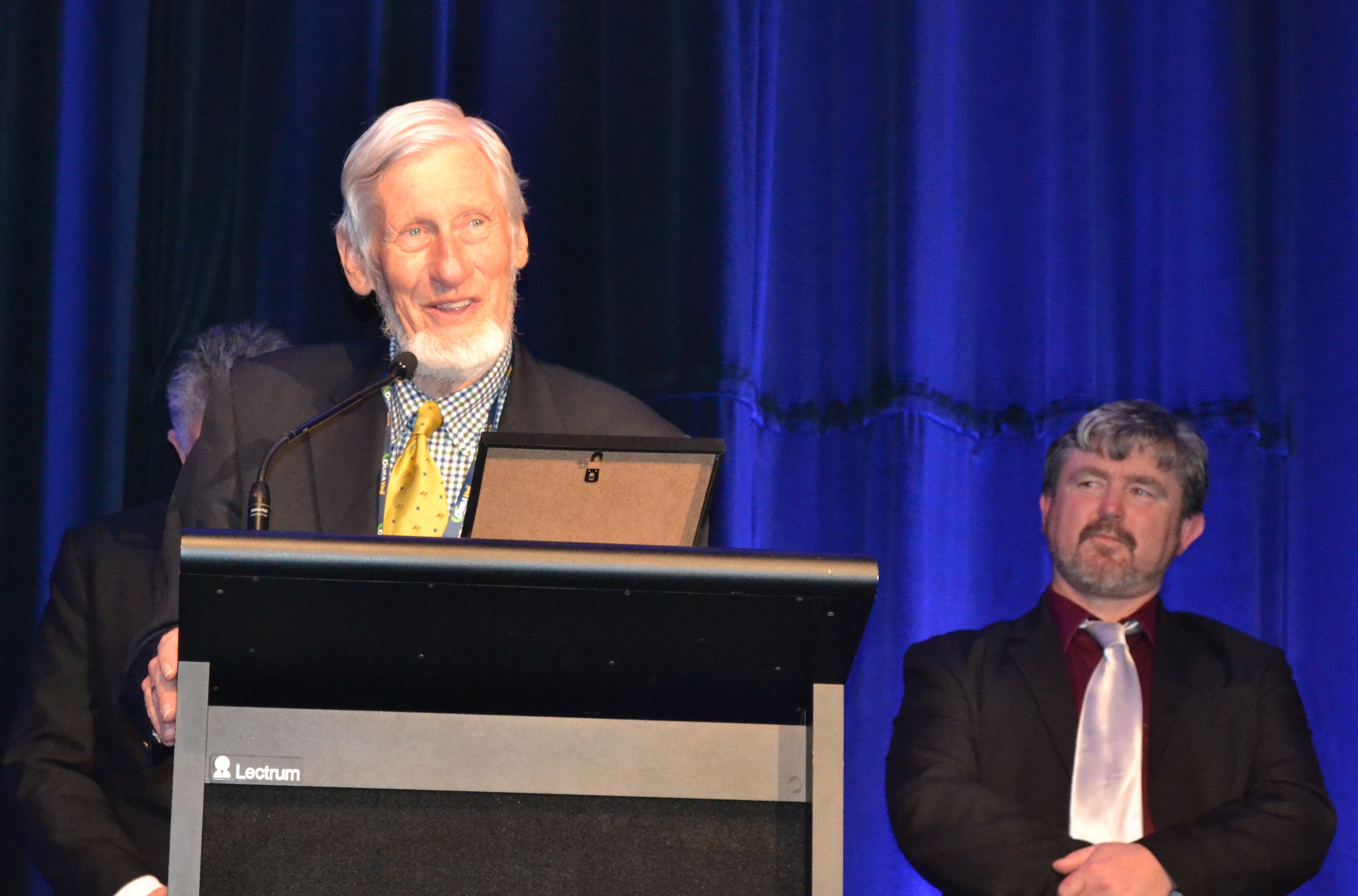 August 2016 - John Argue  acknowledges his Lifetime Membership in Stormwater Australia as Andrew Allan looks on