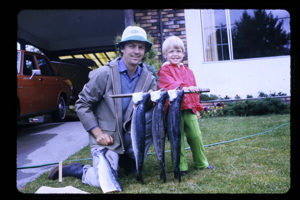Circa 1974 - Tanis Gower with her father after fishing for coho