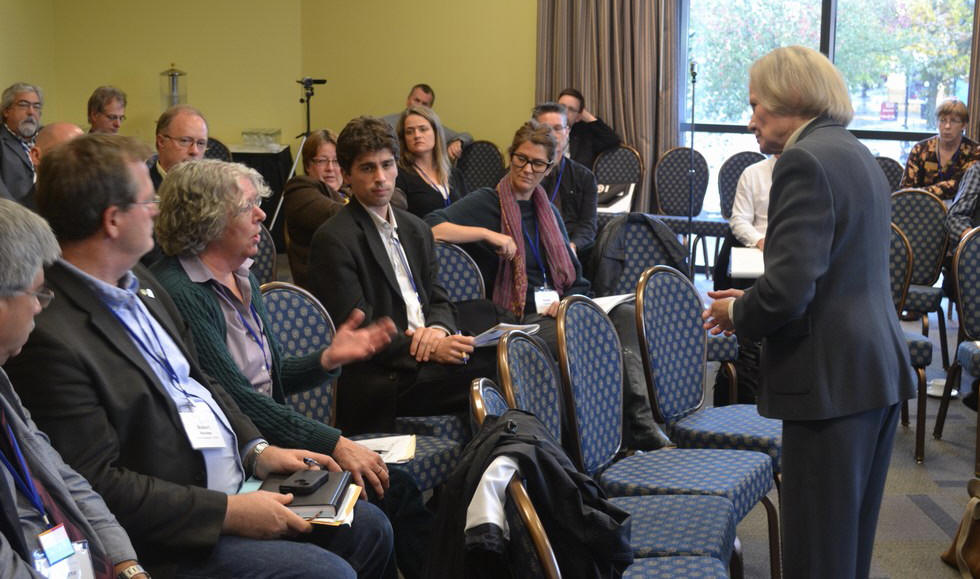 Eva Kras interacts with the audience at the CAVI Forum within the 2012 Vancouver Island Summit