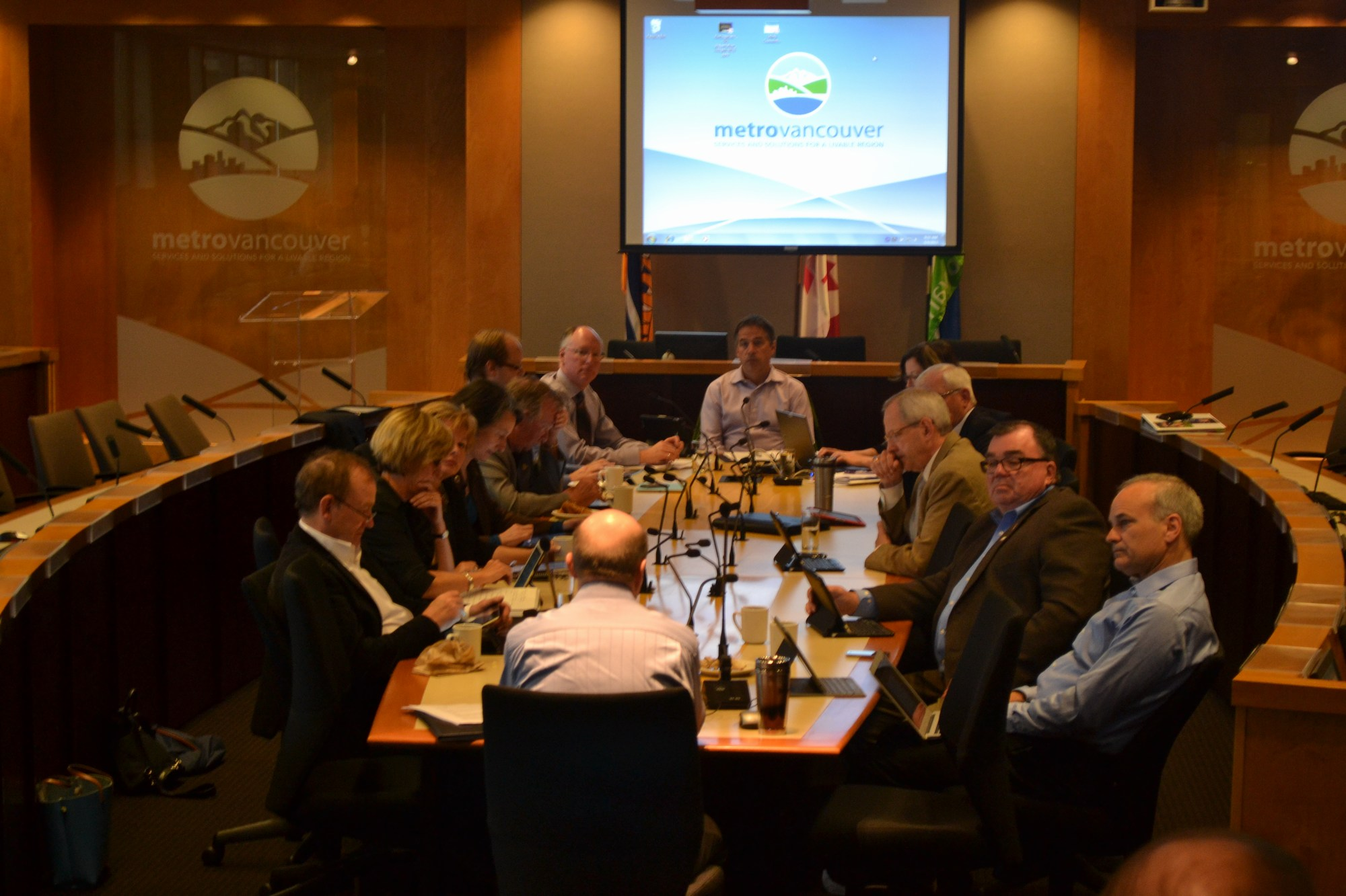 Metro Vancouver Utilties Committee. Chaired by Mayor Darrell Mussatto (City of North Vancouver)