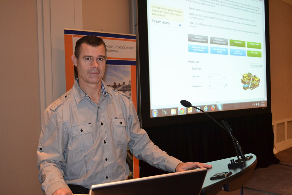 "Richard Boase (District of North Vancouver) introduced the audience to two web-based tools: the District's ""GEOweb Open Data Portal""; and the ""Water Balance Model Express for Landowners"""