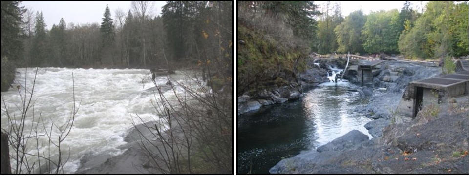 Skutz Falls on the Cowichan River: Fall 2006 – too much water! and Summer 2006 – too little water!
