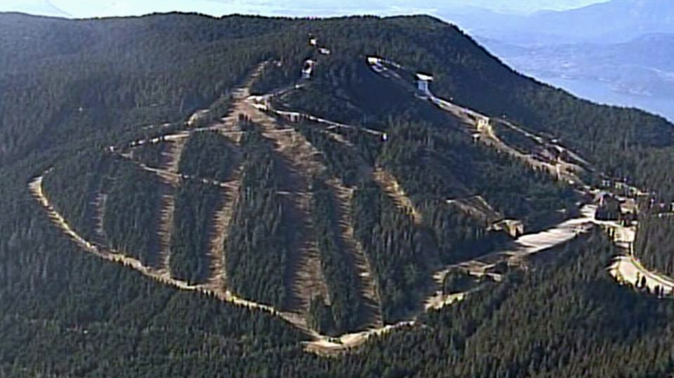 Acknowledgment: Bare ski runs on Cypress Mountain are seen from CTV's Chopper 9 helicopter (Feb. 24, 2015)