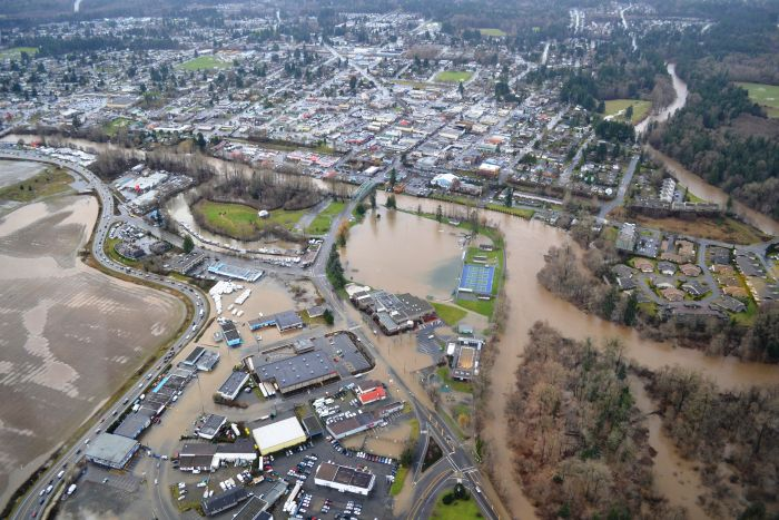 CAUSE-AND-EFFECT: City of Courtenay Flood, Dec 2014. This photograph shows the result when an atmospheric river event, land use and resource development impacts combine.