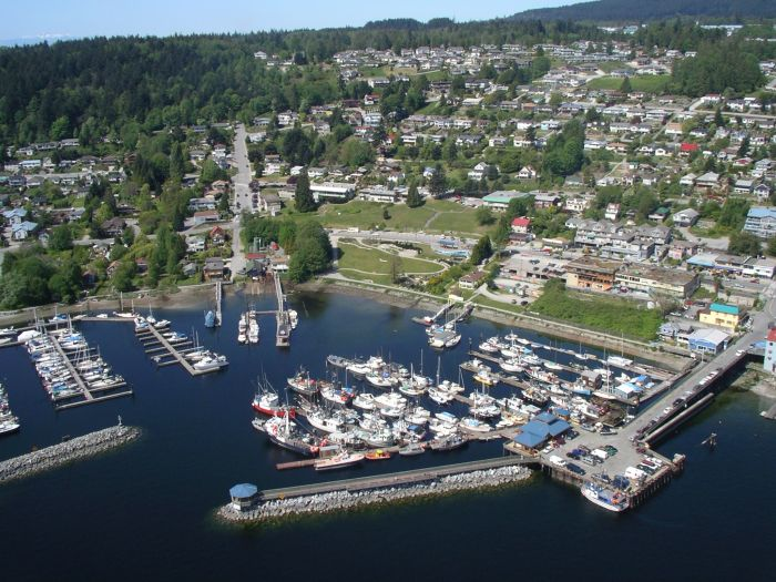 Aerial view of the Town of Gibsons on the Sunshine Coast, British Columbia