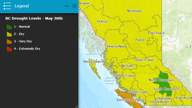 A map of drought conditions in B.C. shows the driest area is Vancouver Island. (B.C. Drought Information Portal 2016)